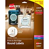 full bleed - Avery Round Labels, Glossy, Full Bleed, Permanent Adhesive, 2-1/2-Inch Diameter, Pack of 135 (44830)