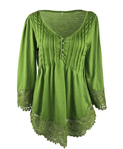 en Chemisiers Unie Manches Vert pissure Blouses Fashion Tops Col V Couleur Haut Shirt Vrac Tuniques JackenLOVE Longues Lacet Femme Casual T qxtFgZgH