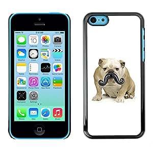TopCaseStore / la caja del caucho duro de la cubierta de protección de la piel - Moustache Bulldog Small Dog Funny - Apple iPhone 5C