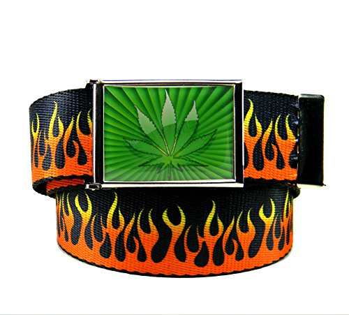 Build-A-Belt-Marijuana-Starburst-Flip-Top-Mens-Belt-Buckle-with-Canvas-Web-Belt-Small-Flames