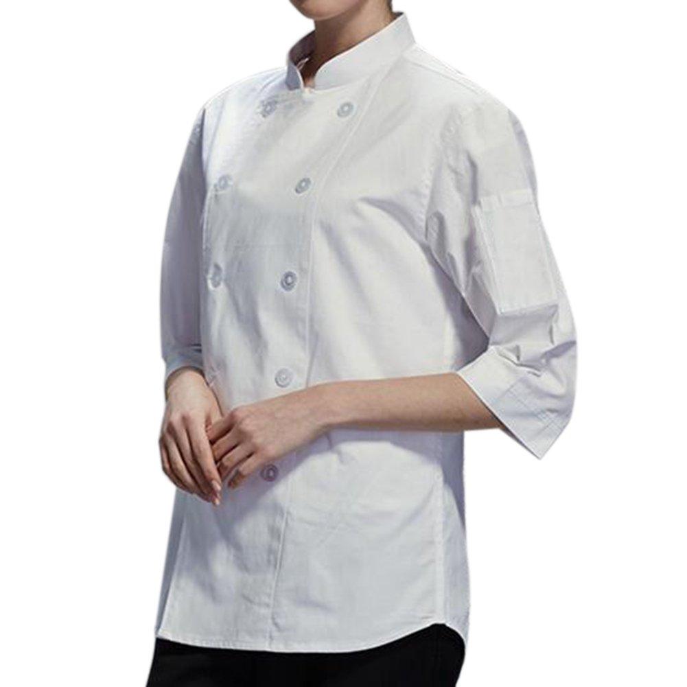 TopTie Unisex Classic 3/4 Sleeve Active Chef Coat-White-XXL by TopTie