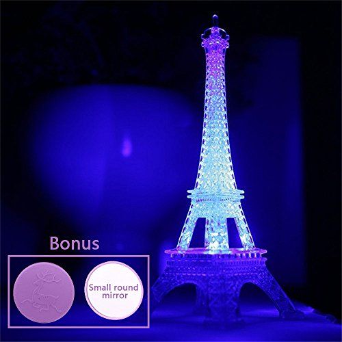 Eiffel Tower Nightlight Desk Bedroom Decoration LED Lamp Colorful Paris Fashion Style Acrylic 10 Inch Cake Topper Decoration (Eiffel Tower Crafts)