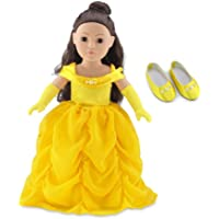 18 Inch Doll Clothes | Gorgeous Princess Belle-Inspired Ball Gown Outfit with Beaded Accents and Matching Elegant Gloves…
