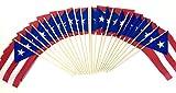 Made in The USA!! Wholesale Box of 144 Cotton 4''x6'' Puerto Rico Miniature Desk & Little Table Flags, 12 Dozen 4''x 6'' Puerto Rican Small Mini Stick Flag