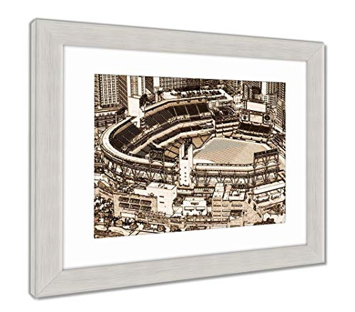 (Ashley Framed Prints Petco Park Line Drawing, Wall Art Home Decoration, Sepia, 30x35 (Frame Size), Silver Frame, AG5597380)
