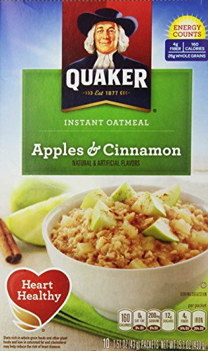 Apple Quaker - Quaker Instant Oatmeal, Apples and Cinnamon, 10 ct