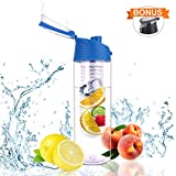 SOWTECH Infuse Water Bottle Leak Proof BPA Free 2 in 1 Infusion Water Bottle Fruit Infused Ideal for Office/Home/Sport and Outdoor Free Recipe Ebook (Blue)