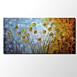 Asdam Art - Oil Paintings on Canvas Budding Flowers Artwork 100% Hand-Painted Abstract Art Floral Wall Art Decorative Pictures Home Decor Gold(24X48 inch)