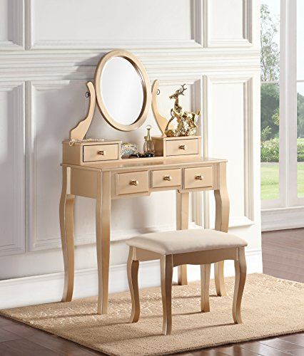 Bedroom Living Room Dresser (Roundhill Furniture 3418GL Ashley Wood Makeup Vanity Table and Stool Set, Gold)