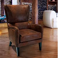 Christopher Knight Home Lorenzo Leather-Like Upholstered Fabric Studded Club Chair Living Room Armchair