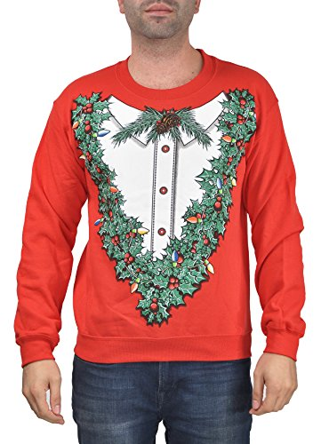 mens ugly christmas sweater print pullover sweatshirt holly wreath x large