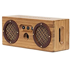 BONGO Bluetooth Wood Portable Speaker | Handcrafted Retro Bamboo Wireless Design | For Travel, Home, Beach, Kitchen, Outdoors | Enhanced Bass with Dual Passive Subwoofers by Otis & Eleanor