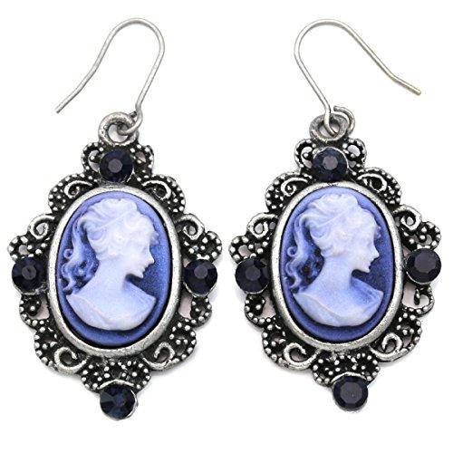 Navy Blue Cameo Earrings Dangle Drop Style Fashion Jewelry