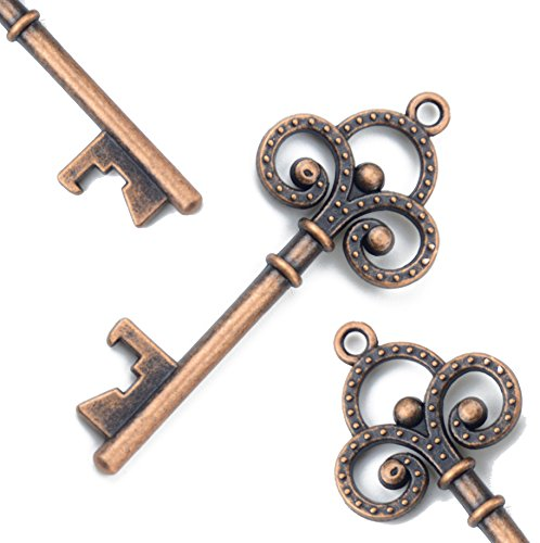 Makhry 50pcs Vintage Skeleton Key Bottle Openers Beer Partners Place Card Keys Wedding Party Favor for Anniversary Graduation Party (Antique Copper) -
