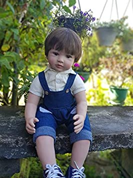 Lifelike Reborn Baby Dolls Boy Toddler 24 inches 60cm Toddler Reborn Bebe Doll Big Eyes with Jeans Outfit for Children Birthday Xmas Gifts Toys 24 inch boy bib Pants