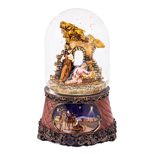 Nativity Snowglobe Scene (Christmas Nativity Three Kings Music Water Globe Glitterdome - 6.5