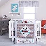 DS 4 Piece Baby Grey Orange Blue Moose Canoe Crib Bedding Set, Newborn Tribal Themed Nursery Bed Set Infant Child Southwest Woodland Animals Aztec Mountains Geometric Pattern Blanket Quilt, Cotton