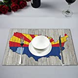 InterestPrint Arizona State Flag with America Map on Wood Background Washable Fabric Placemats Set of 6 Heat Resistant Dining Table Mats Non-slip Washable Place Mats, 12 x 18 Inches
