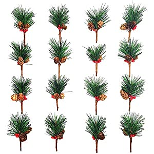 Artificial Pine Picks Artificial Plants Small Pine Picks for Flower Arrangements Wreaths and Holiday Decorations(16 pcs) 20