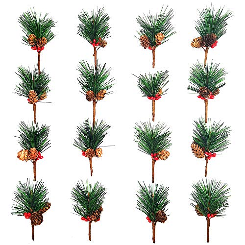 Artificial Pine Picks Artificial Plants Small Pine Picks for Flower Arrangements Wreaths and Holiday Decorations(16 pcs)]()