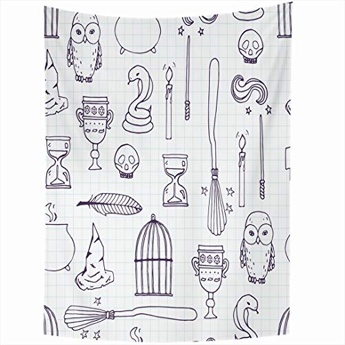 Ahawoso Tapestry 50x60 Inch Candle Harry Different Witch Equipment Pattern Period Potter Wand Broom Witchcraft Besom Birdcage Tapestries Wall Hanging Home Decor for Living Room Bedroom Dorm]()