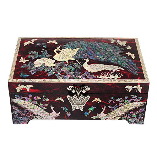Nacreh Wooden Trinket Jewelry Box Organizer Mother of Pearl Inlaid Peacock Design for Woman Keepsake Treasure Chest Box