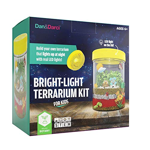 Dan & Darci Bright-Light Terrarium Kit for Kids with LED Light on Lid | Build Your own Terrarium That Lights up at Night with Real LED Lights | Great Science Kits Gifts for Children | Kids Toys (Garden Kit Craft)