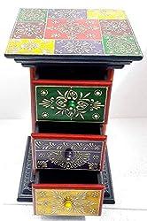 Detec Homze Jaipuri Bedside Table - Multi Color - Set of 2