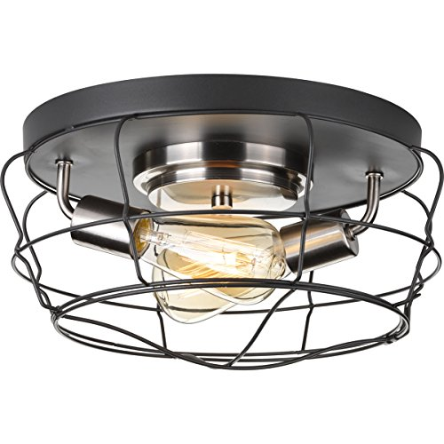 Progress Lighting P350037-143 Gauge Collection Two-Light Flush Mount, Graphite by Progress Lighting