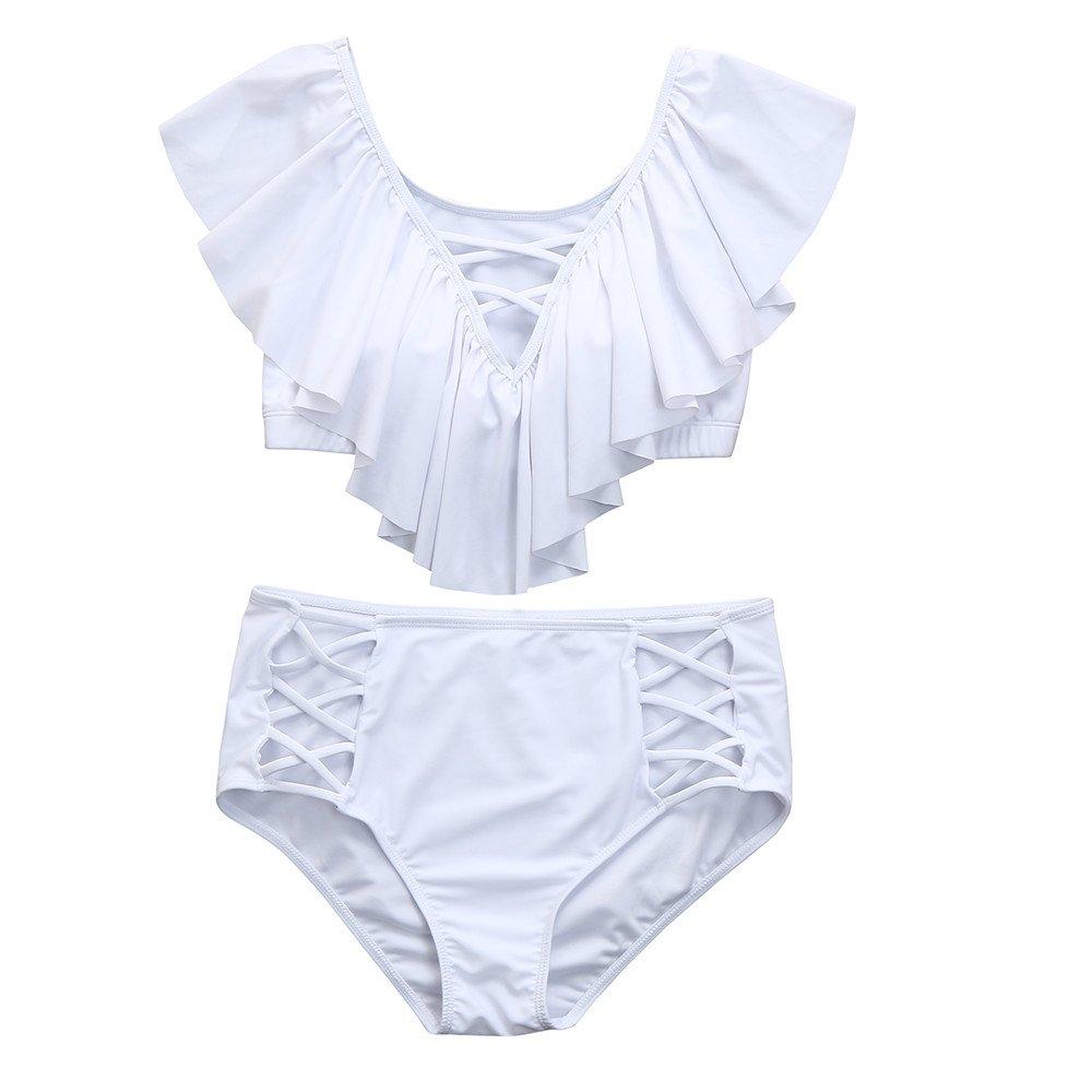 ZOMUSA Hot Sale Women Two Piece Plus Size Swimwear Solid Bathing Ruffle Beachwear Swimsuit (White, XXXXXL)
