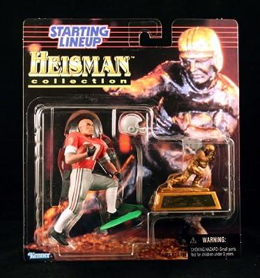 EDDIE GEORGE / OHIO STATE UNIVERSITY BUCKEYES * 1997 NCAA College Football HEISMAN COLLECTION Starting Lineup Action Figure, Football Helmet & Miniature 1995 Heisman Memorial Trophy