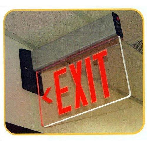 Morris 73402 Surface Mount Edge Lit Exit Sign, Double Sided Legend, Aluminum Housing, Red by Morris