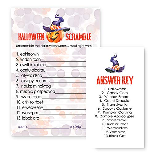 Pumpkin Halloween Word Scramble Party Game Set of 25 Cards - Orange and Purple -
