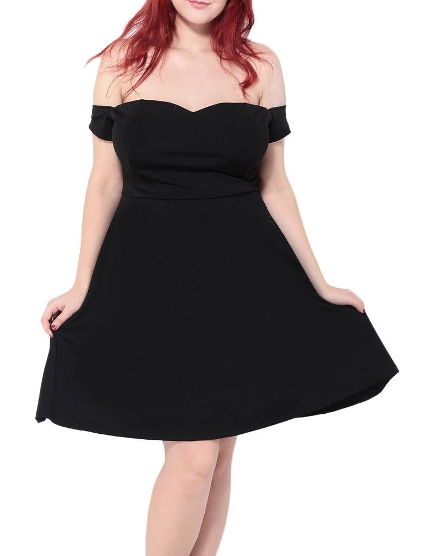 Bigood Plus Size Schulterfrei Damen Ohne Armel Freizeitkleid Party Kleid Schwarz
