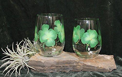 Hand Painted Irish Wine Glasses (Set of 2) - Stemless