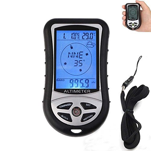 HONG111 8 In 1 Electronic Digital Multifunction LCD Compass Altimeter Barometer Thermometer (Cardinal Thermometer Clock)