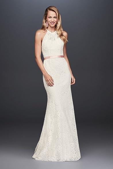 Illusion Lace Halter Sheath Wedding Dress Style WG3883, Ivory, 4 ...