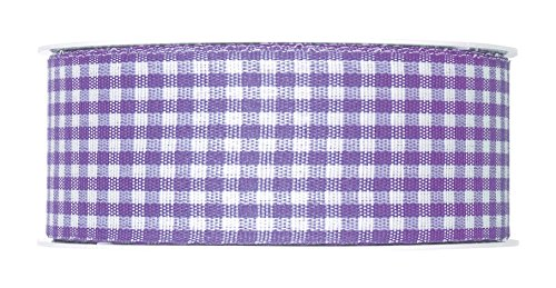 FloristryWarehouse Lilac Lavender Gingham ribbon check fabric 1.5 inches wide x full 27 yards ()