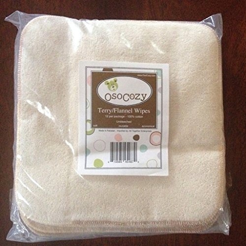 Terry Flannel Wipes (12 Pack) (Unbleached)