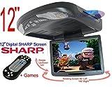 4UCam 12 inch Widescreen Flip down & Swivel Monitor with DVD player, wireless remote, built-in speaker, Wireless FM Modulator/ IR Transmitter - Black