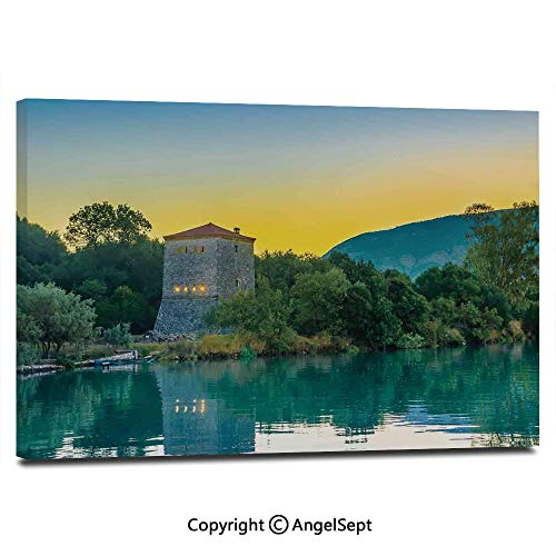 (Modern Salon Theme Mural Venetian Tower Archaeological Site National Park at Sunrise Lake Sanctuary Landscape Painting Canvas Wall Art for Home Decor 24x36inches, Blue Green)