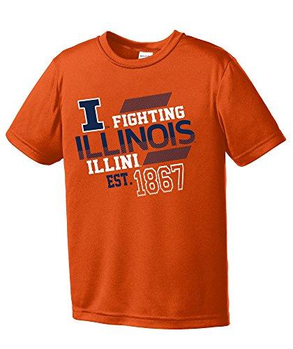 - NCAA Illinois Illini Youth Boys Offsides Short sleeve Polyester Competitor T-Shirt, Youth Large,Orange