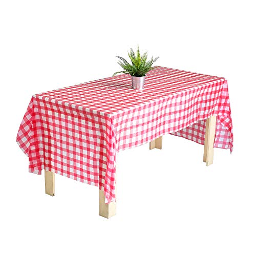 Rectangle Plastic Tablecloth, Red Gingham Disposable Checkered Tablecloths for Picnic, Wedding, Party, Dining (16 Pack & 54
