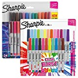 Sharpie Permanent Markers, 24-Count Cosmic Color & 24-Count Colorburst Ultra-Fine Point Markers, Total of 48