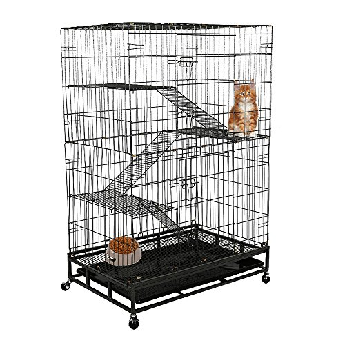 Lucky Tree Cat Cage large Pet Crate Cats Playpen Sturdy with Ladders, Wheels, Removable Leak-Proof Pan