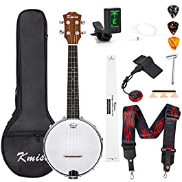 Banjo Ukulele Concert Size 23 Inch With Bag Tuner Strap Strings Pickup Picks Ruler Wrench Bridge (Brown)
