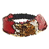 BCDshop Women Sequins Headbands Stretch Running Yoga Gym Head Wrap Hair Band Wide Fashion Accessories, (Red)