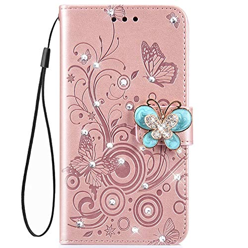 IKASEFU Shiny butterfly Rhinestone Emboss Floral Pu Leather Diamond Bling Wallet Strap Case with Card Holder Magnetic Flip Cover Compatible with Samsung Galaxy J4 Plus,Rose gold