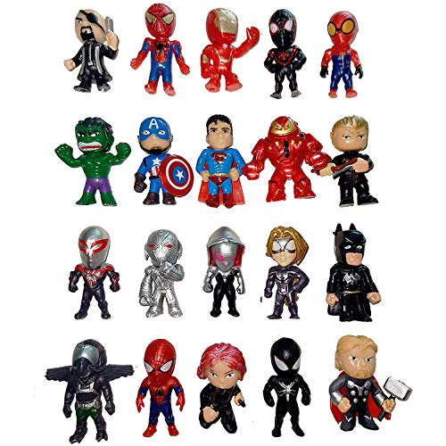 MEET Superhero Cake Toppers - 20-Piece Mini Action Figures with - Cupcake Topper Figurines for Kids - Ideal for Birthday Party, Party Favors, Children Toys, Collectibles