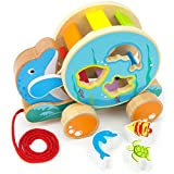 Wooden Wonders Ocean Pals Spinning Shape Sorter Pull Along Toy (3pcs.) by Imagination Generation